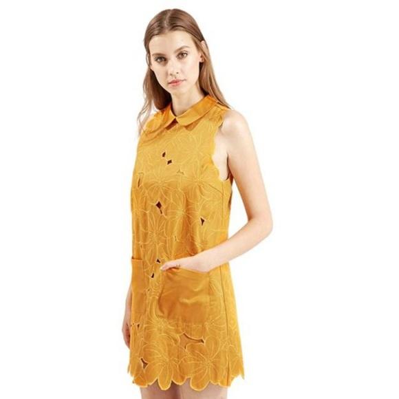 d8798aceb1f2f Topshop Dresses   Yellow Floral Cutwork Shift Dress   Poshmark
